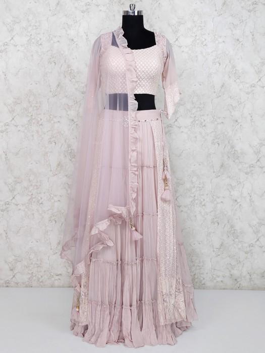 Georgette Fabric Baby Pink Lehenga Choli