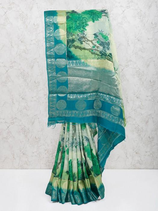 Georgette Fabric Green Color Festive Saree