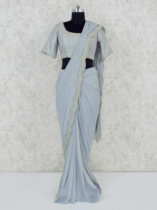Georgette Grey Wedding Ready To Wear Saree