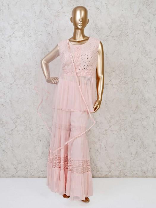 Georgette Pink Aabla,thread Work Punjabi Sharara Suit