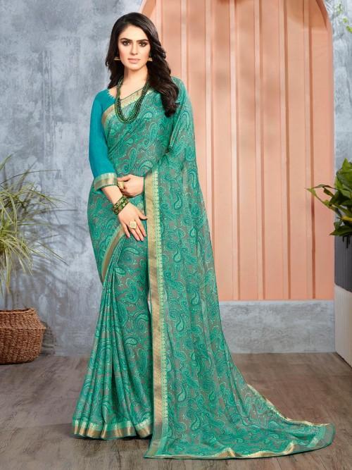 Georgette Regular Wear Printed Saree In Green