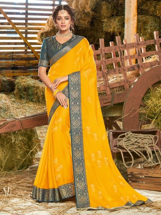 Georgette Yellow Foil Zari Weaving Saree