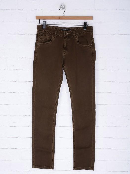 Gesture Dark Brown Colored Solid Jeans