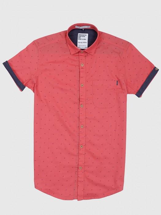 Gianti Coral Pink Hue Printed Shirt