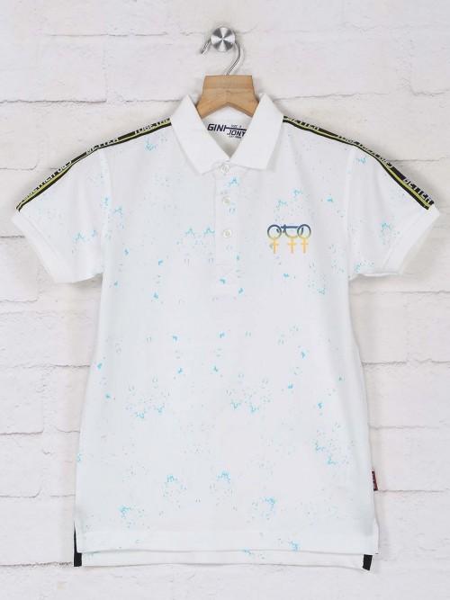 Gini & Jony White Printed Polo Boys T-shirt
