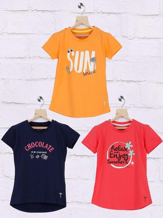 Gini And Jony Printed Orange,peach,black Pack Of 3 Top