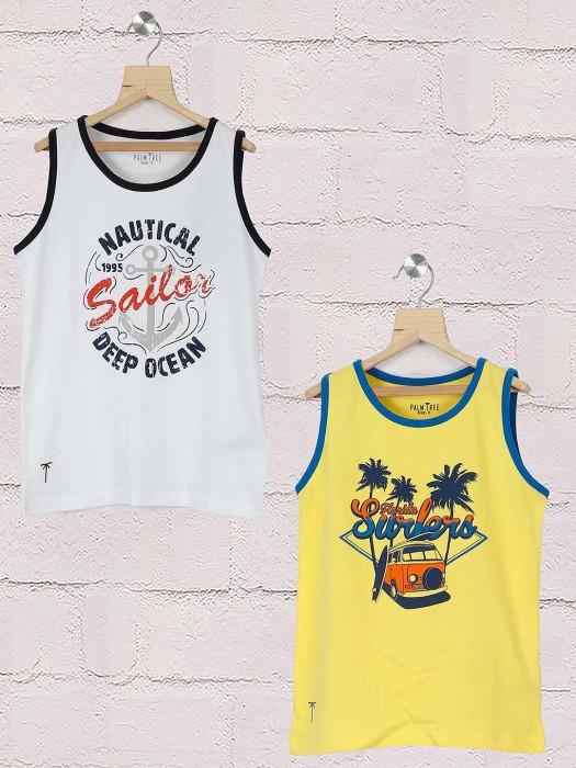 Gini And Jony Printed White And Yellow Pack Of 2 T-shirt