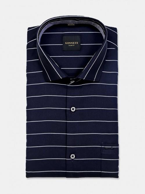 Ginneti Navy Stripe Cotton Shirt