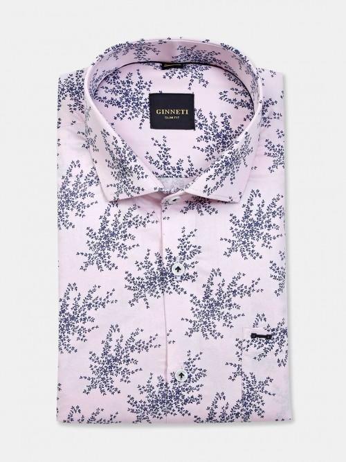Ginneti Printed Pink Cotton Mens Shirt
