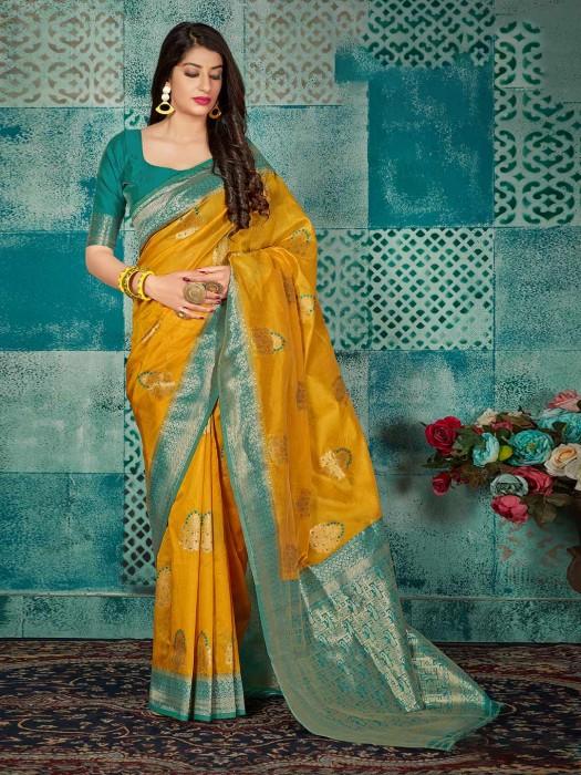 Gold Banarasi Silk Beautiful Saree