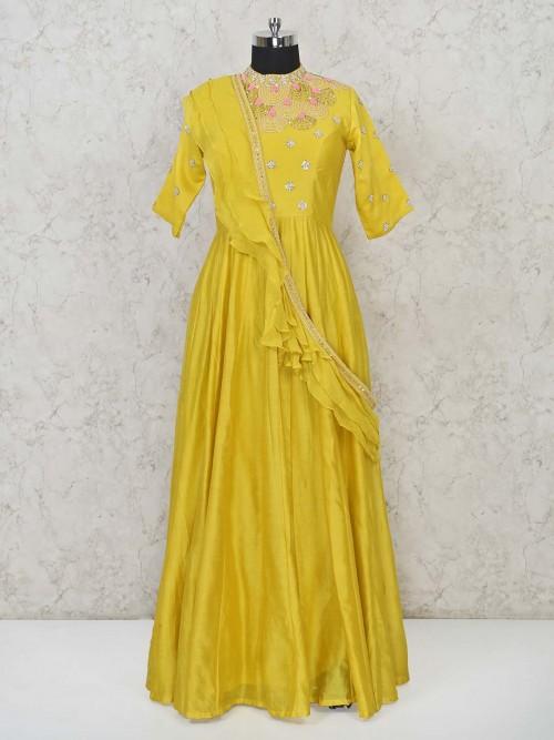 Gold Cotton Silk Floor Length Anarkali Salwar Suit