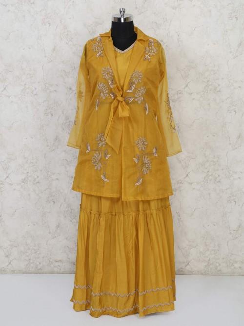 Gold Cotton Silk Jacket Style Indo Western Lehenga Choli