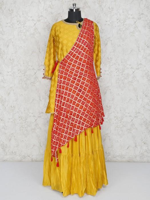 Gold Cotton Silk Round Neck Salwar Suit