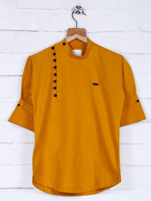 Gold Hue Cotton Fabric Solid Kurta