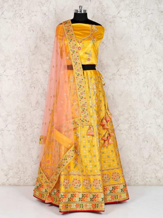 Gold Raw Silk Designer Bridal Semi Stitched Lehenga Choli