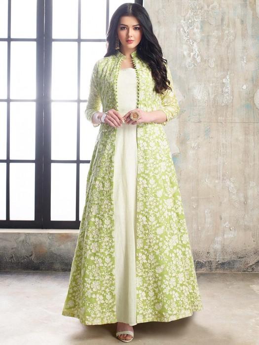 Gorgeous Green Color Cotton Silk Floor Length Anarkali Salwar Suit