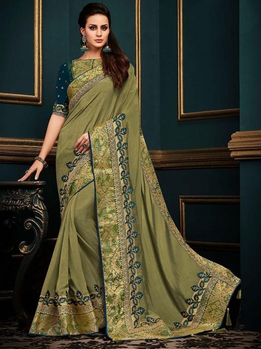 Gorgeous Green Cotton Silk Festive Saree