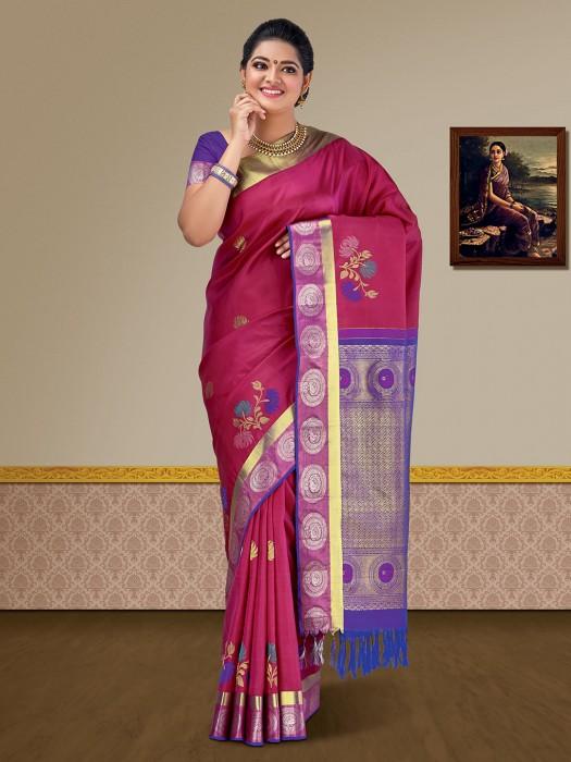 Gorgeous Maroon Kanjivaram Pure Silk Saree