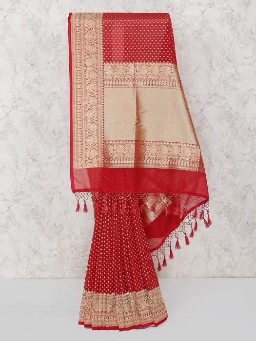 Gorgeous Red Color Semi Silk Fabric Saree