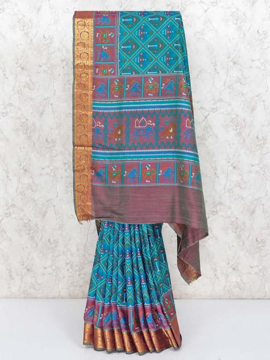 Green And Purple Cotton Silk Patola Printed Saree