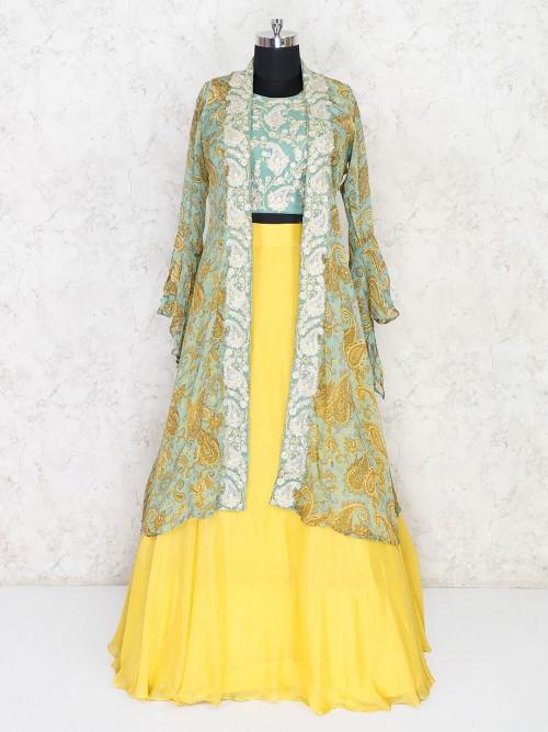 Green And Yellow Tissue Silk Jacket Style Lehenga Choli