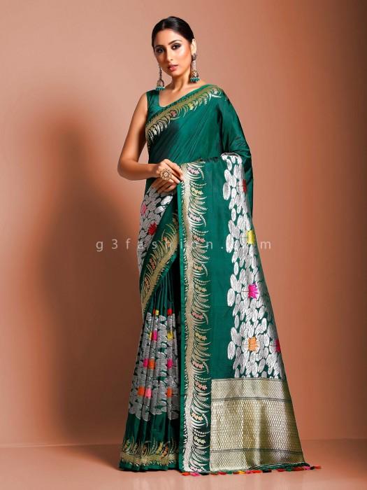 Green Pure Handloom Banarasi Silk Thread Zari Weaving Saree