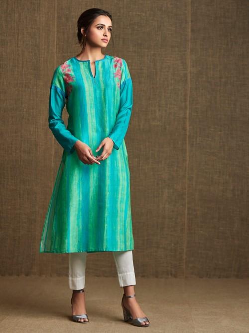 Green Casual Wear Designer Cotton Kurti