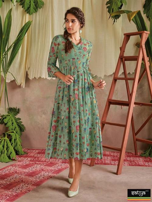 Green Casual Wear Printed Kurti In Cotton
