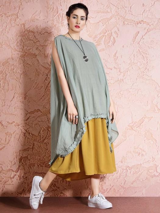 Pista Green Cape Top And Yellow Pretty Kurti Dress