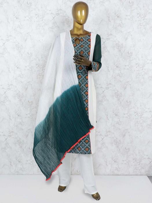 Green Color Cotton Punjabi Salwar Suit