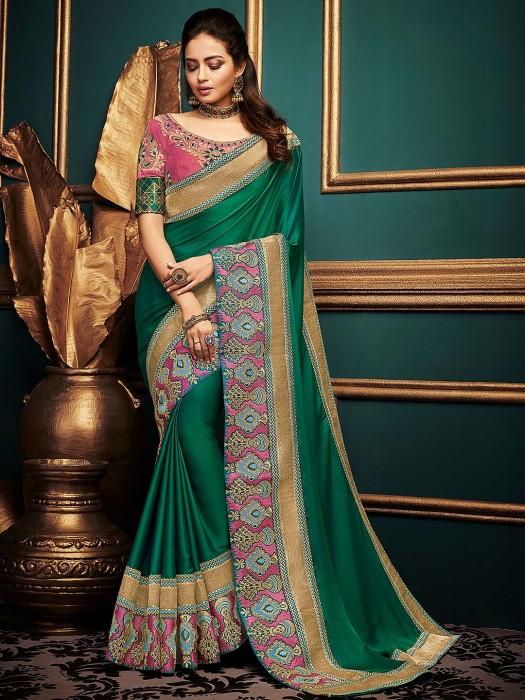 Green Color Festive Cotton Silk Fabric Saree