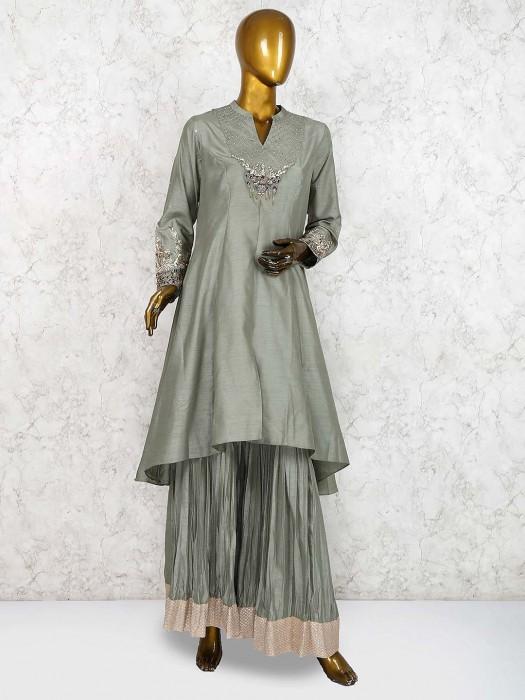 Green Color Festive Raw Silk Punjabi Sharara Suit