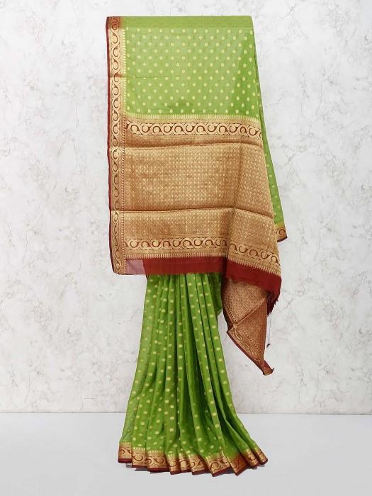 Green Color Georgette Wedding Saree