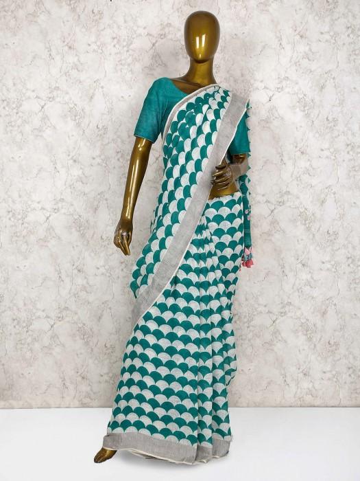 Green Color Linen Festival Saree