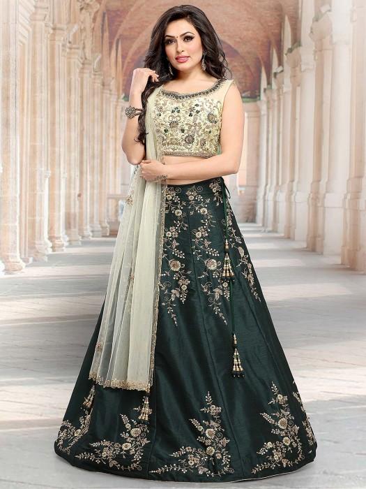 Green Color Raw Silk Lovely Lehenga Choli