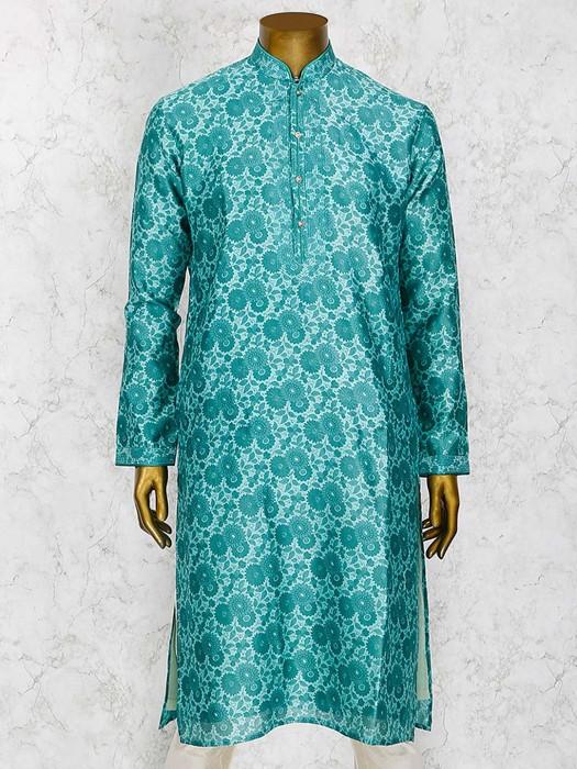 Green Cotton Silk Party Wear Kurta Suit