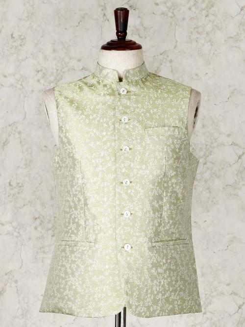 Green Cotton Silk Waistcoat For Mens