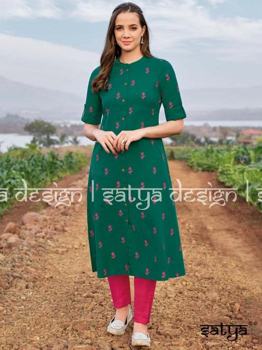 Green Cotton Stand Collar Kurti