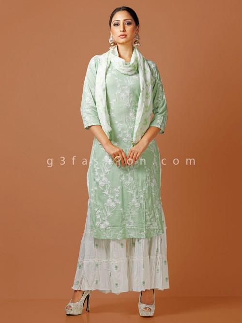 Green Cotton Thread Woven Punjabi Sharara Suit