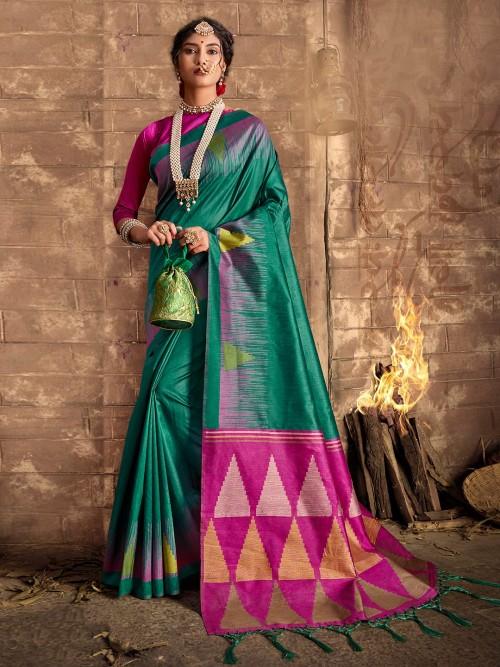 Green Designer Cotton Silk Saree