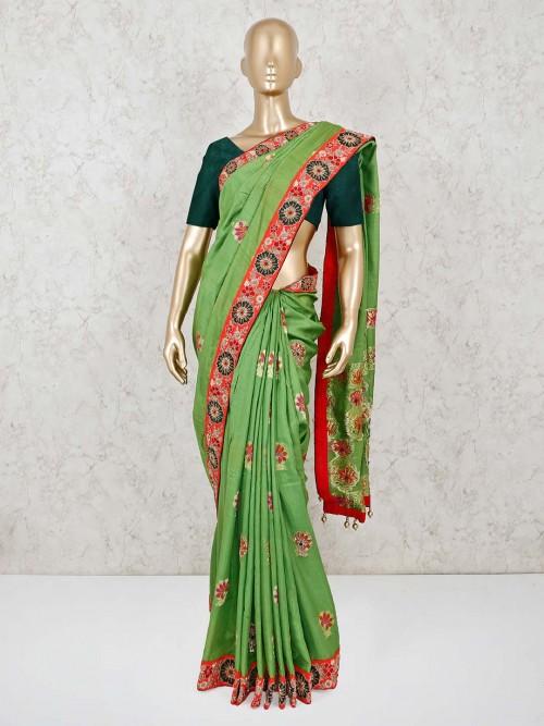 Green Dola Silk Saree Wedding Wear