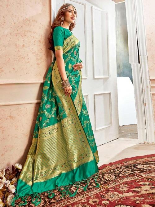 Green Embroidered Banarasi Silk Saree