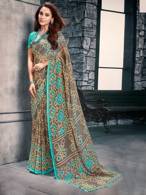 Green Festive Look Saree In Georgette