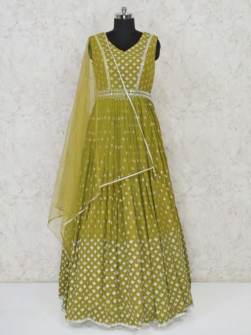 Green Georgette Anarkali Suit For Wedding Days