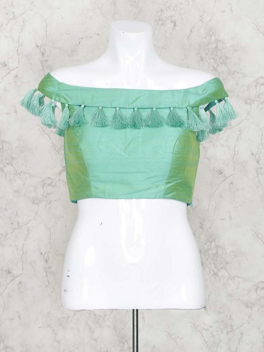 Green Hue Gorgeous Raw Silk Blouse