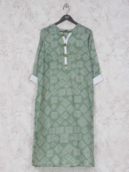 Green Hue Printed Cotton Pretty Kurti