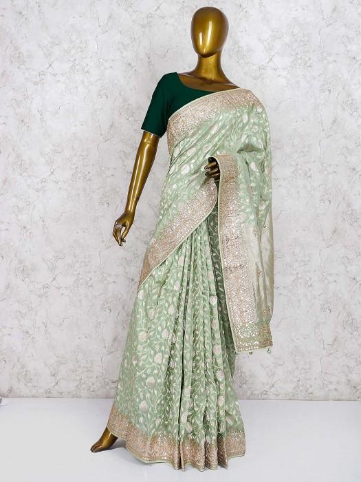 Green Hue Saree In Pure Silk Fabric