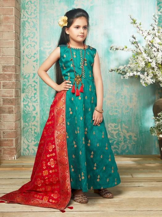 Green Hued Raw Silk Fabric Girl Anarkali Suit