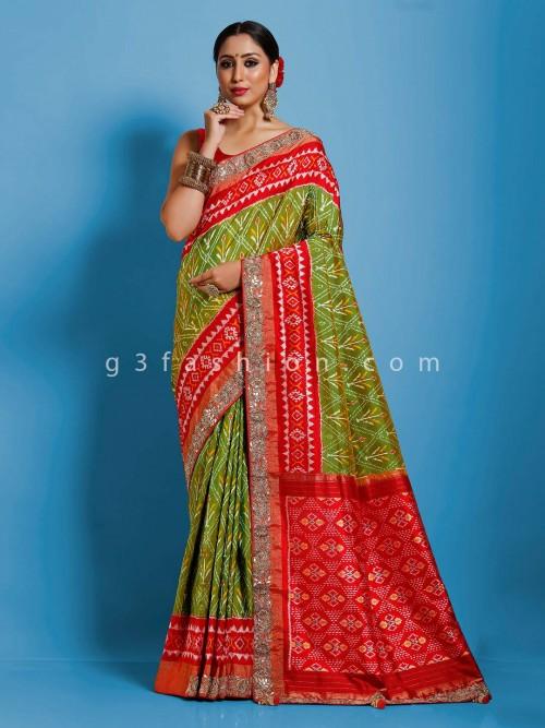 Green Hydrabadi Patola Silk Saree With Embellished Border