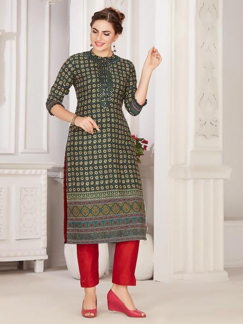 Green Printed Cotton Festive Wear Kurti